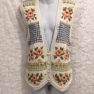 Marisa Christina Sz S Knitted by Hand Floral Vest